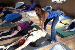 Teaching our daily morning Prana Flow class
